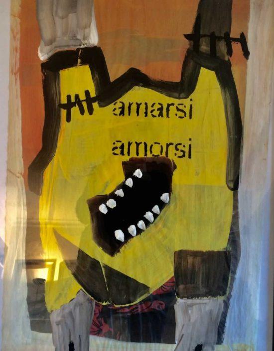 Andrea Bertotti-amarsi A Morsi-dipinto 70x50 Cod 0170610