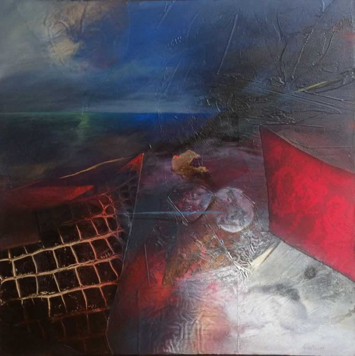 Fausto Minestrini-lontano Nel Tempo-dipinto 70x70 Cod 0910202