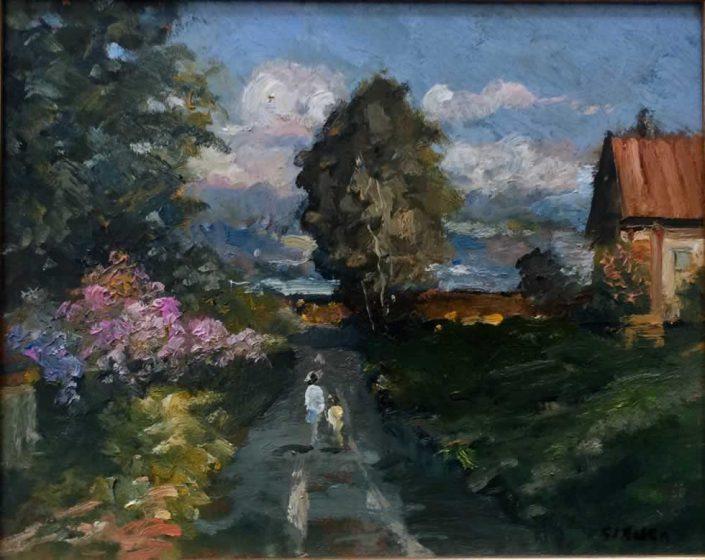 Giancarlo Taverniti 'gianca'-passeggiata-dipinto 20x23 Cod 1130101