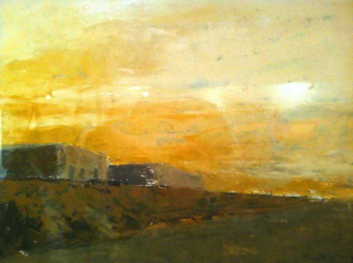Paolo Bellegrandi-paesaggio Con Fabbriche-dipinto 30x40 Cod 0100101