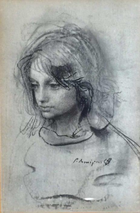 Pietro Annigoni -ritratto-disegno 34x28 Cod 0030101
